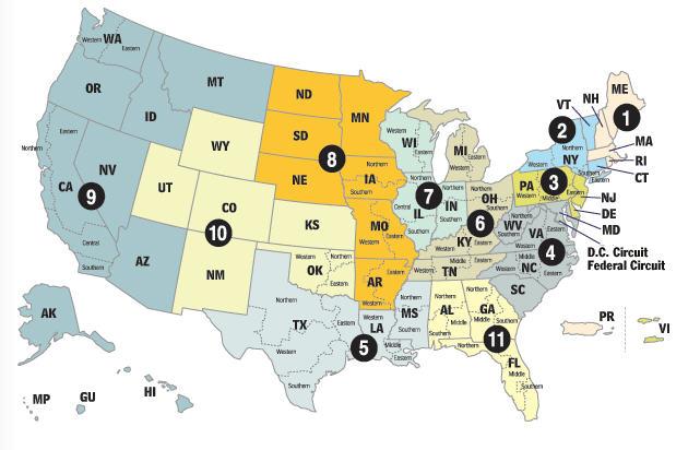 Federal circuit map